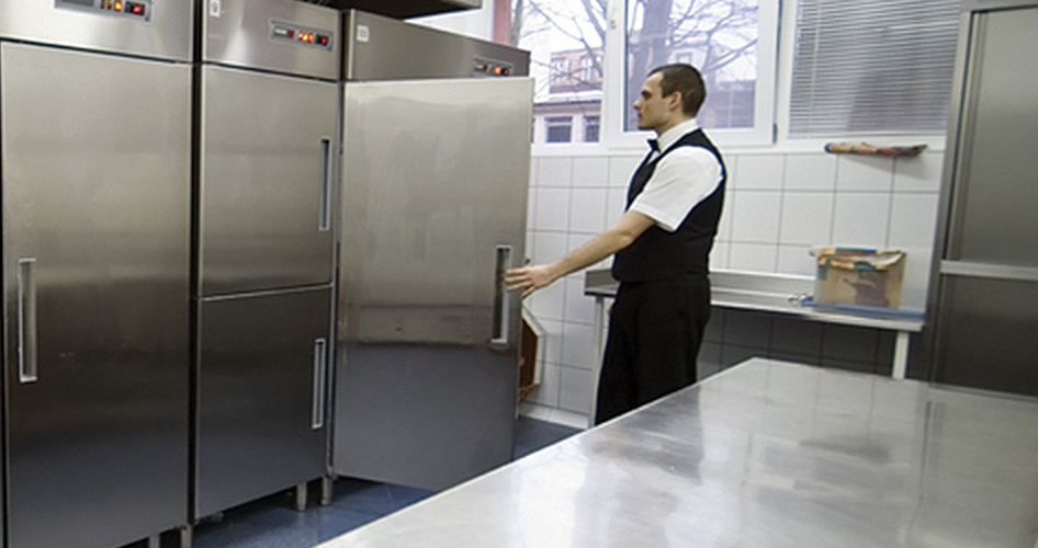 Waiter Using Commercial Refrigerator